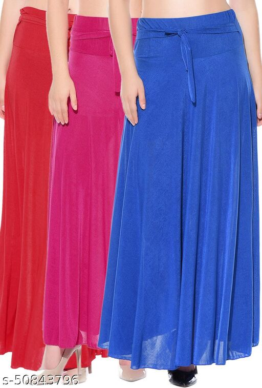 Mixcult Combo of 3 Pcs Red Pink Blue Solid Crepe Full Length Flared Skirts