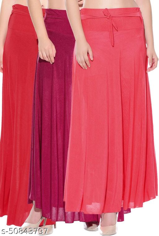 Mixcult Combo of 3 Pcs Red Pink Red Solid Crepe Full Length Flared Skirts