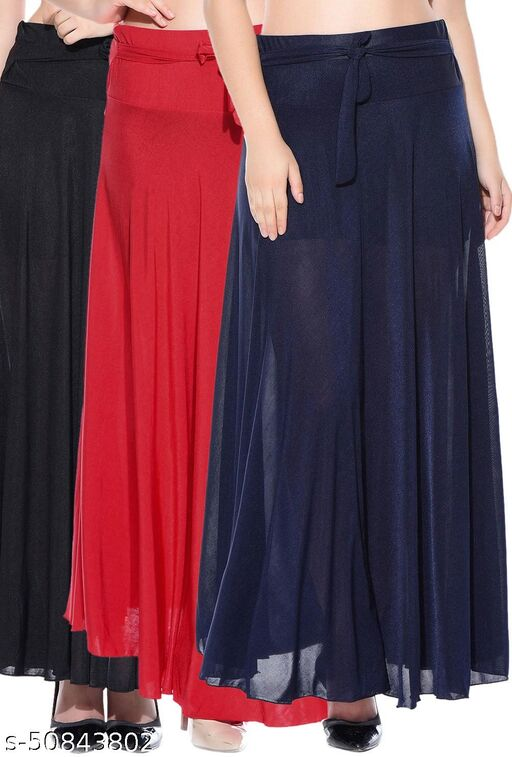 Mixcult Combo of 3 Pcs Black Red Blue Solid Crepe Full Length Flared Skirts