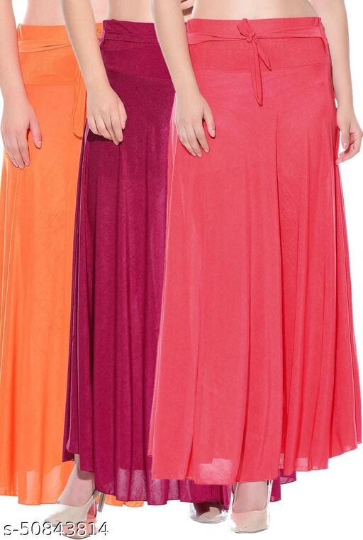 Mixcult Combo of 3 Pcs Orange Pink Red Solid Crepe Full Length Flared Skirts