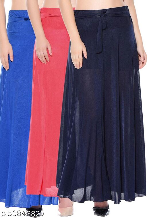 Mixcult Combo of 3 Pcs Blue Red Blue Solid Crepe Full Length Flared Skirts