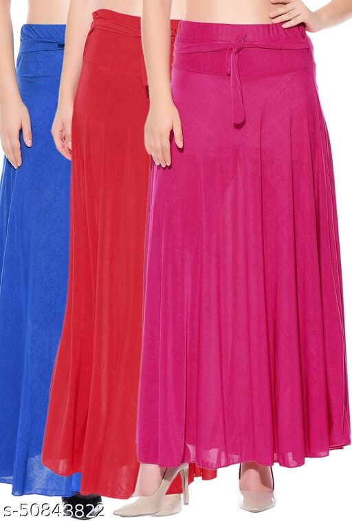 Mixcult Combo of 3 Pcs Blue Red Pink Solid Crepe Full Length Flared Skirts