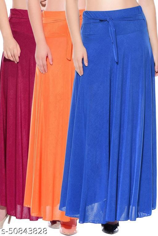 Mixcult Combo of 3 Pcs Pink Orange Blue Solid Crepe Full Length Flared Skirts