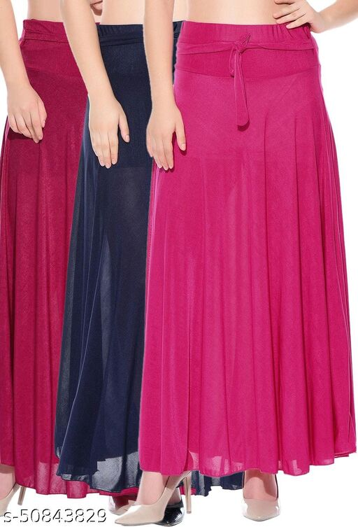 Mixcult Combo of 3 Pcs Pink Blue Pink Solid Crepe Full Length Flared Skirts