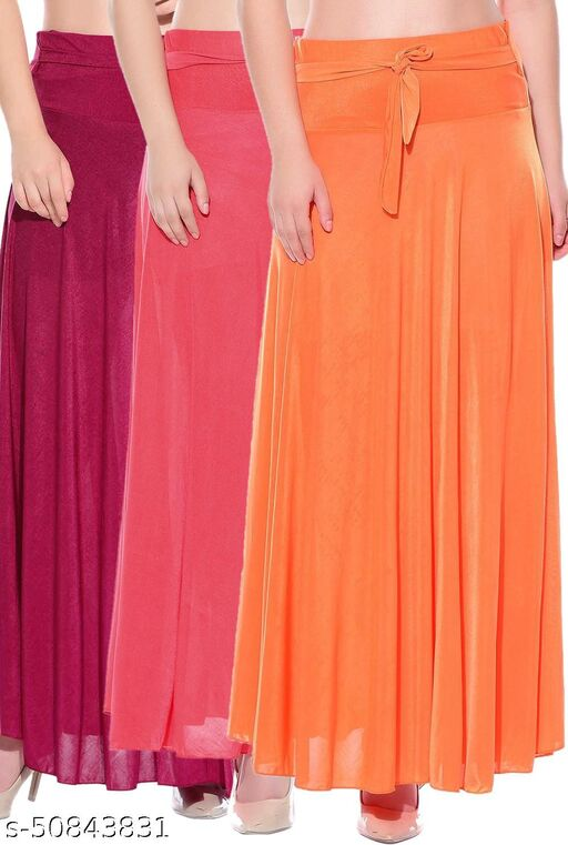 Mixcult Combo of 3 Pcs Pink Red Orange Solid Crepe Full Length Flared Skirts