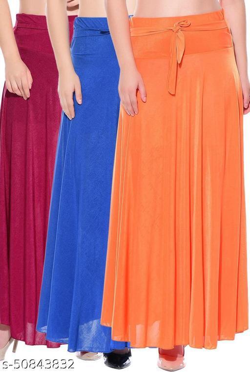 Mixcult Combo of 3 Pcs Pink Blue Orange Solid Crepe Full Length Flared Skirts