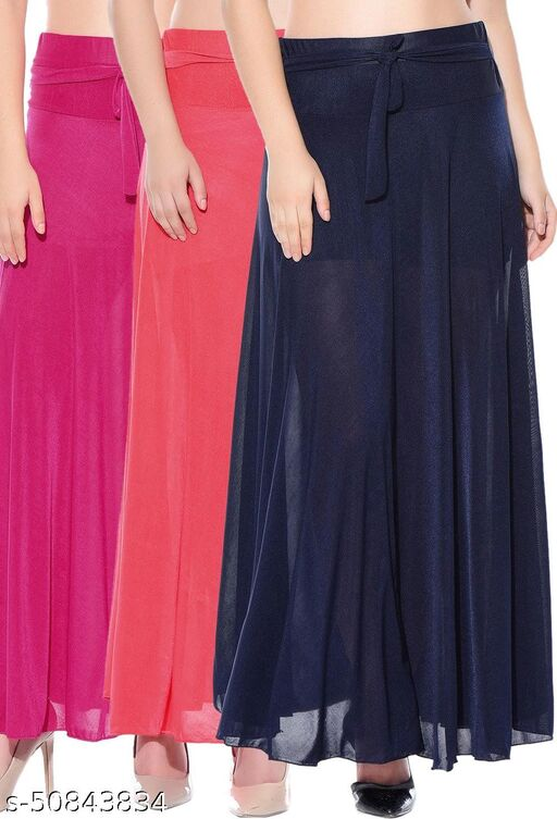 Mixcult Combo of 3 Pcs Pink Red Blue Solid Crepe Full Length Flared Skirts
