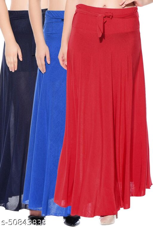 Mixcult Combo of 3 Pcs Blue Blue Red Solid Crepe Full Length Flared Skirts