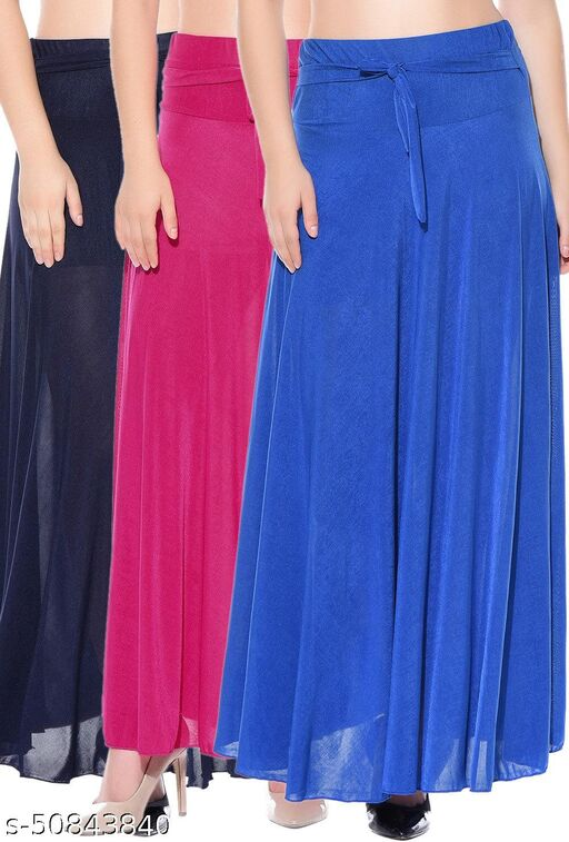 Mixcult Combo of 3 Pcs Blue Pink Blue Solid Crepe Full Length Flared Skirts