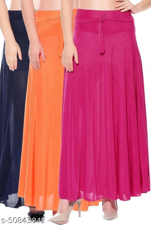 Mixcult Combo of 3 Pcs Blue Orange Pink Solid Crepe Full Length Flared Skirts