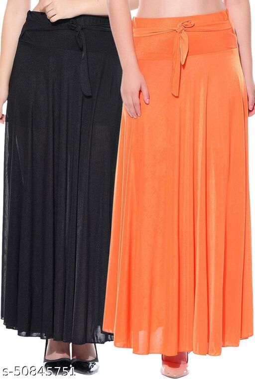 Combo of 2 Pcs Black Orange Solid Crepe Full Length Flared Skirts