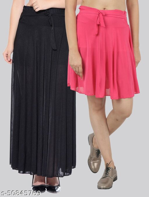 Mixcult Combo of 2 Pcs Black Long & B-Pink Small Solid Crepe Flared Skirts