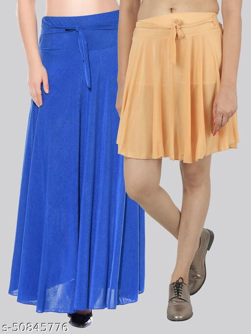 Mixcult Combo of 2 Pcs  Blue Long & L-Brown Small Solid Crepe Flared Skirts