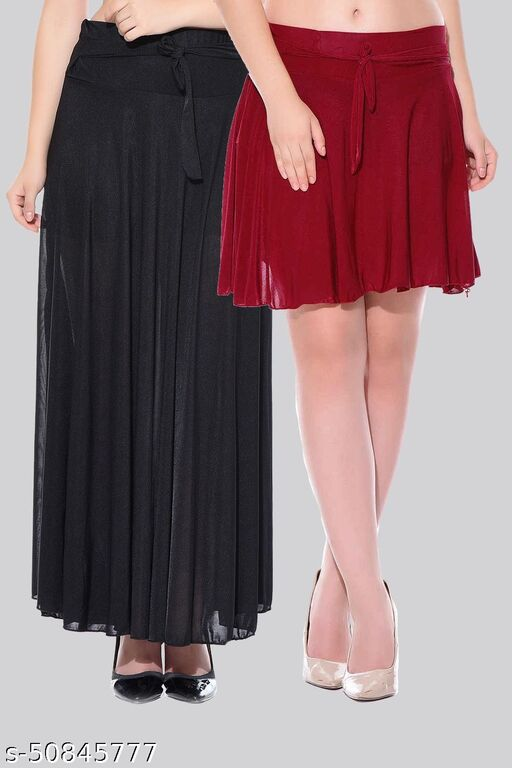 Mixcult Combo of 2 Pcs  Black Long & Maroon Small Solid Crepe Flared Skirts