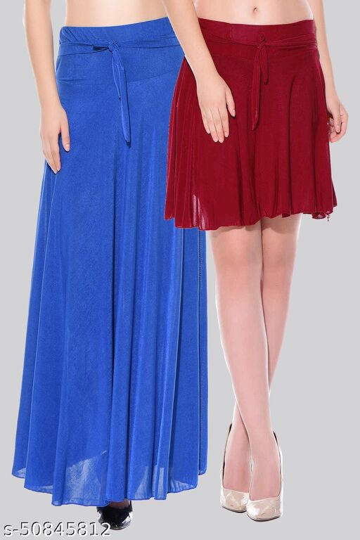 Mixcult Combo of 2 Pcs  Blue Long & Maroon Small Solid Crepe Flared Skirts