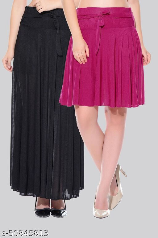 Mixcult Combo of 2 Pcs  Black Long & Purple Small Solid Crepe Flared Skirts