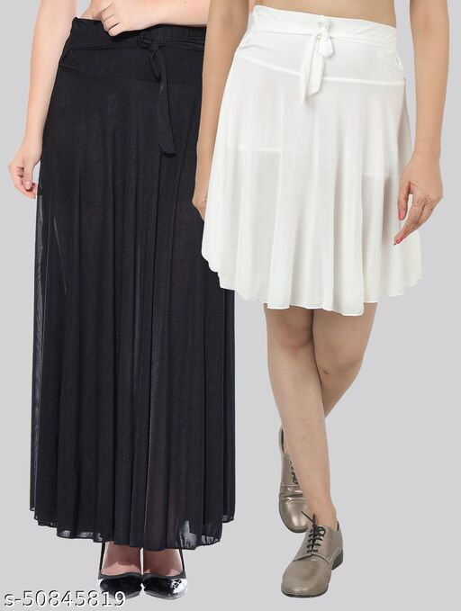 Mixcult Combo of 2 Pcs  Black Long & White Small Solid Crepe Flared Skirts