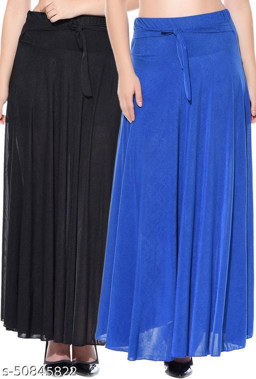 Mixcult Combo of 2 Pcs Black Blue Solid Crepe Full Length Flared Skirts