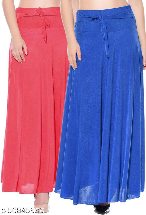 Mixcult Combo of 2 Pcs Red Blue Solid Crepe Full Length Flared Skirts
