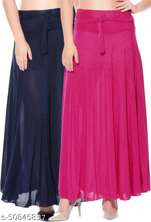 Mixcult Combo of 2 Pcs Blue Pink Solid Crepe Full Length Flared Skirts