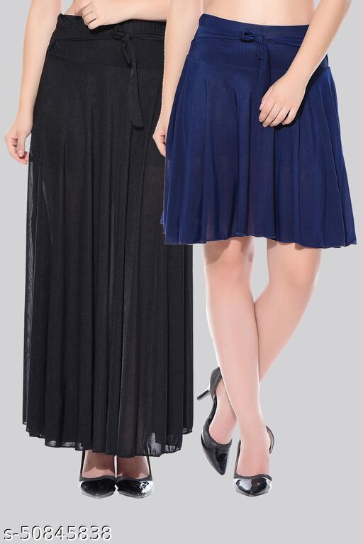 Mixcult Combo of 2 Pcs  Black Long & D-Blue Small Solid Crepe Flared Skirts