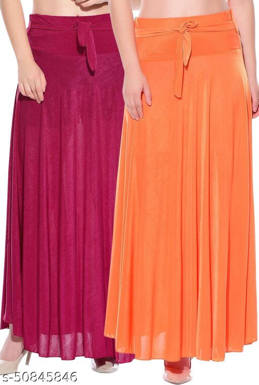 Mixcult Combo of 2 Pcs Pink Orange Solid Crepe Full Length Flared Skirts