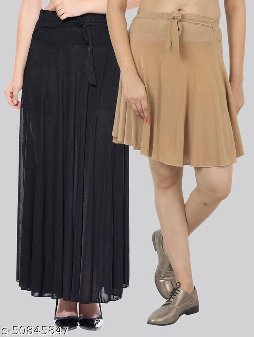 Mixcult Combo of 2 Pcs  Black Long & D-Beige Small Solid Crepe Flared Skirts