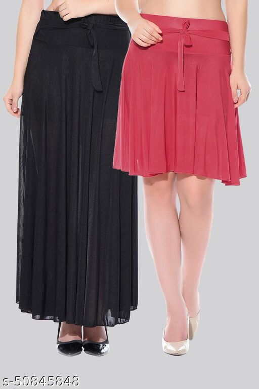 Mixcult Combo of 2 Pcs  Black Long & Red Small Solid Crepe Flared Skirts