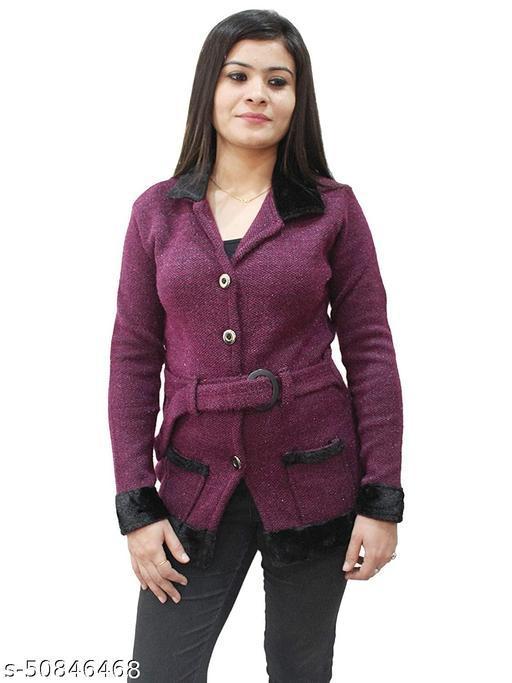 Women Woollen Coat/Cardigan/Sweater With Belt
