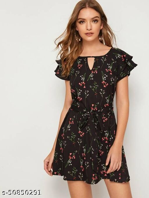 Keyhole Back Butterfly Sleeve Belted Floral Dress