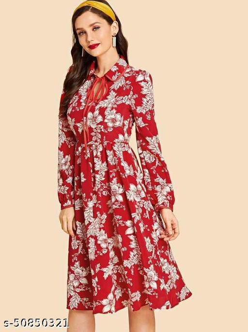 Tie Neck Floral Print A-Line Dress