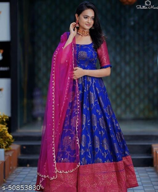 Demanding blue Colored Party Wear Woven Jacquard  Gown