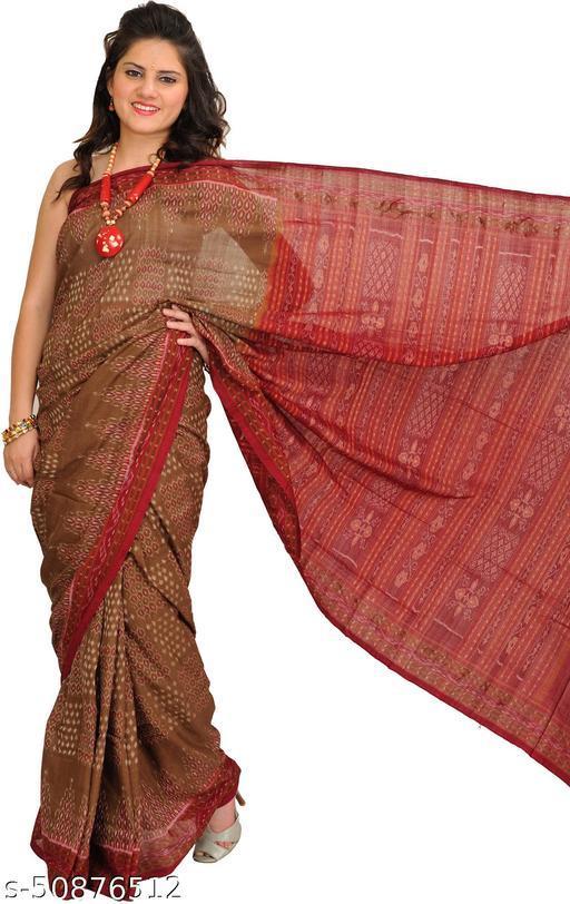 Exotic India Coffee-Liqueur Ikat Handloom Sari from Sambhalpur