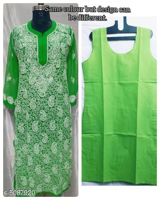 Kurtis & Kurtas Trendy Chiffon Women's Kurtis  *Fabric* Chiffon, Inner - Soft Cotton  *Sleeve Length* Three-Quarter Sleeves  *Pattern* Embroidered  *Combo of* Single  *Sizes*   *XL (Bust Size* 42 in, Size Length  *L (Bust Size* 40 in, Size Length  *M (Bust Size* 38 in, Size Length  *XXL (Bust Size* 44 in, Size Length  *Sizes Available* M, L, XL, XXL   Supplier Rating: ★4 (1255) SKU: TCWK_8_1 Shipping charges: Rs1 (Non-refundable) Pkt. Weight Range: 300  Catalog Name: Alisha Drishya Kurtis - Pooja Handicrafts- Code: 0801-5087920--7911