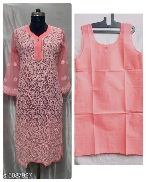 Kurtis & Kurtas Trendy Chiffon Women's Kurtis  *Fabric* Chiffon, Inner - Soft Cotton  *Sleeve Length* Three-Quarter Sleeves  *Pattern* Embroidered  *Combo of* Single  *Sizes*   *XL (Bust Size* 42 in, Size Length  *L (Bust Size* 40 in, Size Length  *M (Bust Size* 38 in, Size Length  *XXL (Bust Size* 44 in, Size Length  *Sizes Available* M, L, XL, XXL   Supplier Rating: ★4 (1255) SKU: TCWK_8_5 Shipping charges: Rs1 (Non-refundable) Pkt. Weight Range: 300  Catalog Name: Alisha Drishya Kurtis - Pooja Handicrafts- Code: 0801-5087927--7911