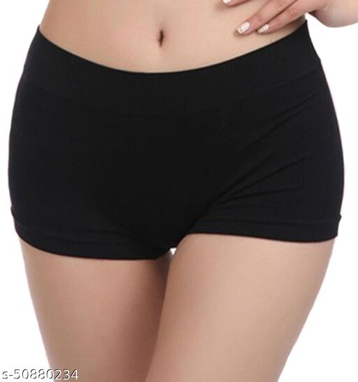 Short Panties for Women Girls for Sports Yoga Gym Swimming Underskirt Black Stretchable Fabric