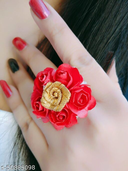 Lovemetz Jewellery Stylish Traditional Gold Plated Floral Studded Ring for Women and Girls