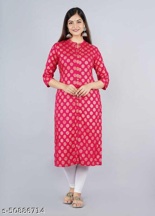 Lavandis Rayon printed Pink Kurti