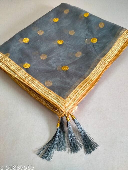 Net Grey Color Dupatta With Gold Border Lace