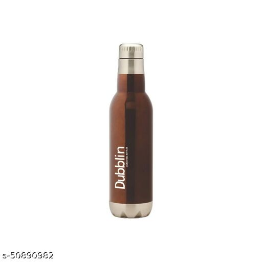 DUBBLIN Barrel Premium Stainless Steel Double Wall Vacuum Insulated BPA Free Water Bottle, Sports Thermos Flask Keeps Hot 12 Hours, Cold 24 Hours (Brown 500 ML) (Barrel 500 Brown)