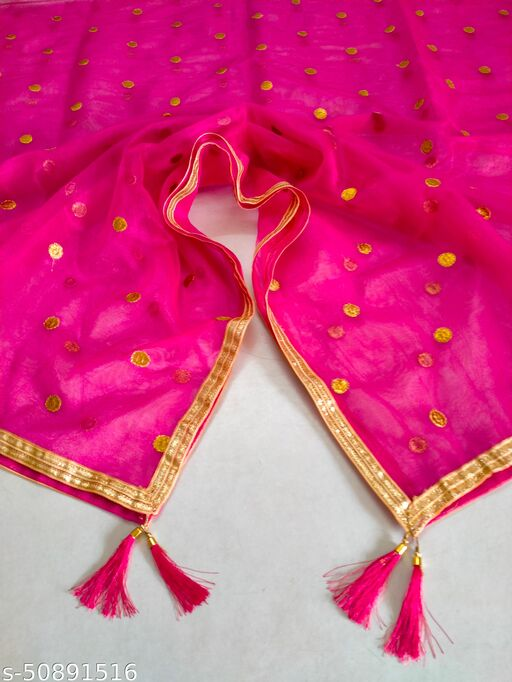 New Pink Color Dupatta With Gold Border Lace