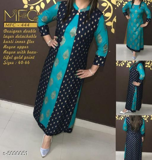 Kurtis & Kurtas Women's Printed Rayon Kurta Set with Dupatta  *Kurti Fabric* Rayon  *Shrug Fabric* Rayon  *Sleeve Length* Three-Quarter Sleeves  *Set Type* Kurti With Shrug  *Pattern* Printed  *Multipack* Single  *Sizes*   *XL (Kurti Bust Size* 42 in, Kurti Length Size  *L (Kurti Bust Size* 40 in, Kurti Length Size  *M (Kurti Bust Size* 38 in, Kurti Length Size  *XXL (Kurti Bust Size* 44 in, Kurti Length Size  *Sizes Available* M, L, XL, XXL *    Catalog Name: Women's Printed Rayon Kurta Sets CatalogID_750104 C74-SC1001 Code: 207-5090051-
