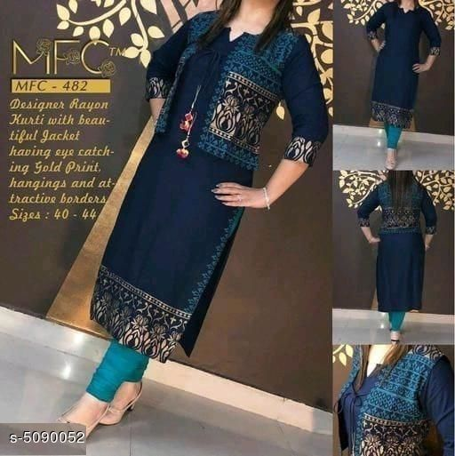 Kurtis & Kurtas Women's Printed Rayon Kurta Set with Dupatta  *Kurti Fabric* Rayon  *Jacket Fabric* Rayon  *Sleeve Length* Three-Quarter Sleeves  *Set Type* Kurti With Jacket  *Pattern* Printed  *Multipack* Single  *Sizes*   *XL (Kurti Bust Size* 42 in, Kurti Length Size  *L (Kurti Bust Size* 40 in, Kurti Length Size  *M (Kurti Bust Size* 38 in, Kurti Length Size  *XXL (Kurti Bust Size* 44 in, Kurti Length Size  *XXXL (Kurti Bust Size* 46 in, Kurti Length Size  *4XL (Kurti Bust Size* 48 in, Kurti Length Size  *5XL (Kurti Bust Size* 50 in, Kurti Length Size  *6XL (Kurti Bust Size* 52 in, Kurti Length Size  *Sizes Available* S, M, L, XL, XXL, XXXL, 4XL, 5XL, 6XL *    Catalog Name: Women's Printed Rayon Kurta Sets CatalogID_750104 C74-SC1001 Code: 305-5090052-