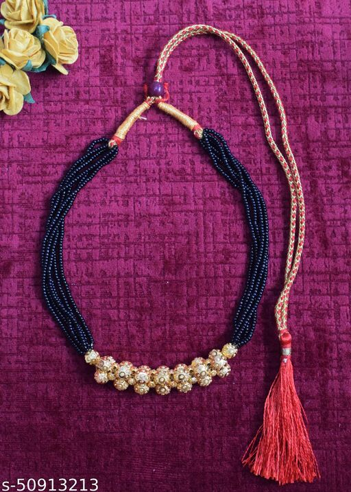 Tradtional Black bead and yellow gold necklace