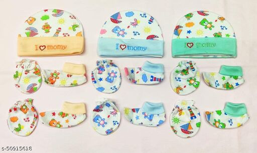 New Born Baby Infant Soft Cotton Mitten Sets with Cap and Booties Set- (0-3 Month)