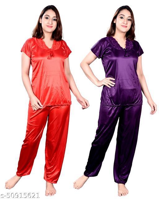 RJ Garments Satin Fabric Trending Nightsuit Night Dress for Girls in Orange & Purple Color Pack of 2