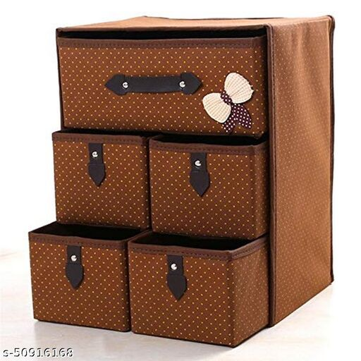 Ganesh Art Foldable 3 Drawer 5 Layer Units Fabric Cabinet Closet Storage Organizer, Multi-Colour