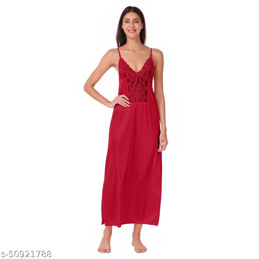 Get Romance Printed Satin Blend Women long gown
