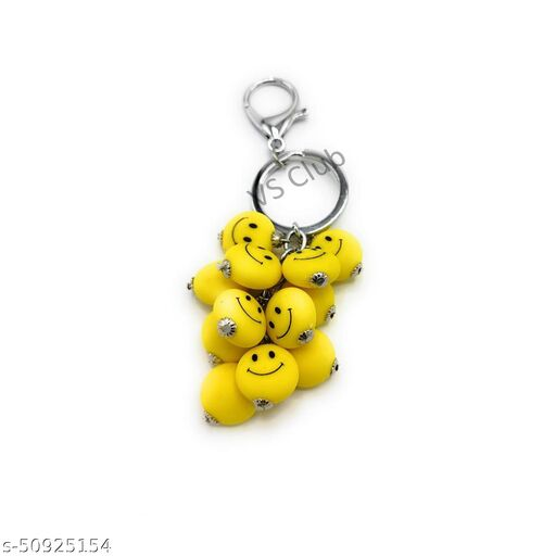 VS Club Smiley Metal Antique Keychain For Men Women, Girls, Boys Stylish / Key Ring Hook Key chain Holder For Bikes Car Home For Gift(Yellow)