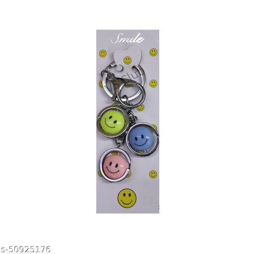 VS Club Smiley Metal Antique Keychain For Men Women, Girls, Boys Stylish / Key Ring Hook Key chain Holder For Bikes Car Home For Gift(Multicolor)
